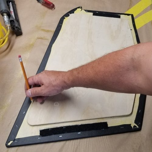 using pencil to center backing panel on front panel for best alignment