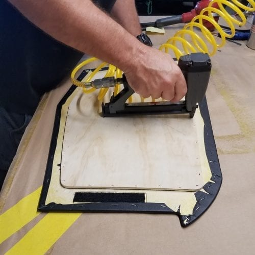 using stable gun to stable back panel to front
